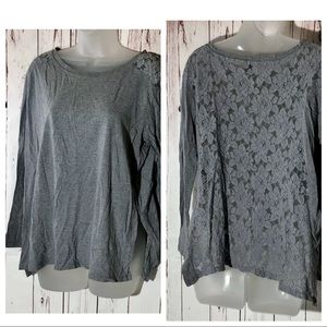🐼 DKNY Top ShirtFloral Lace Back Gray
